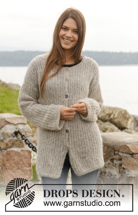 This cardigan is light and warm - a great layering piece! #knitting pattern online for free by #DROPSDesign