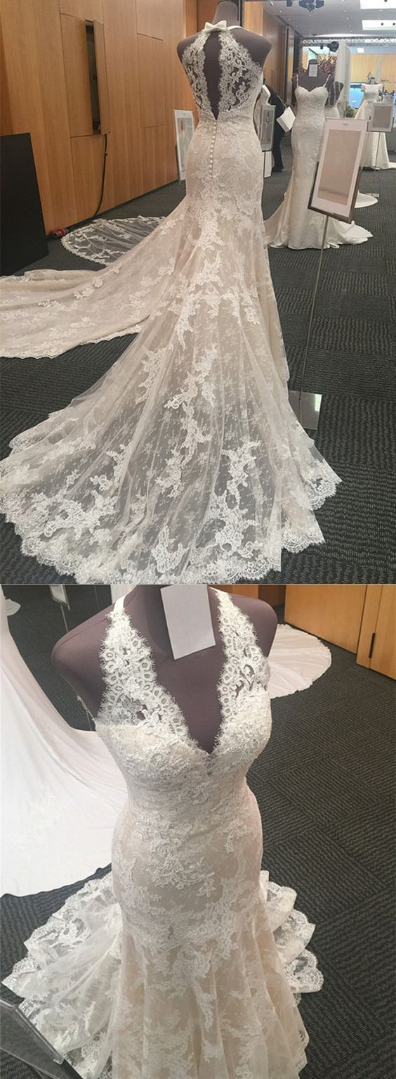 Halter Neck Open Back Lace Mermaid Court Train Wedding Dresses 2018 Vintage Style PD20190241