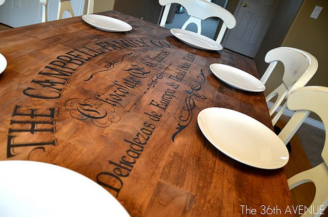 DIY tabletop redo...make a stencil with my cricut, dab paint over the stencil, stain & seal.  I love this idea for a thrift store table or maybe one I already have in the basement!