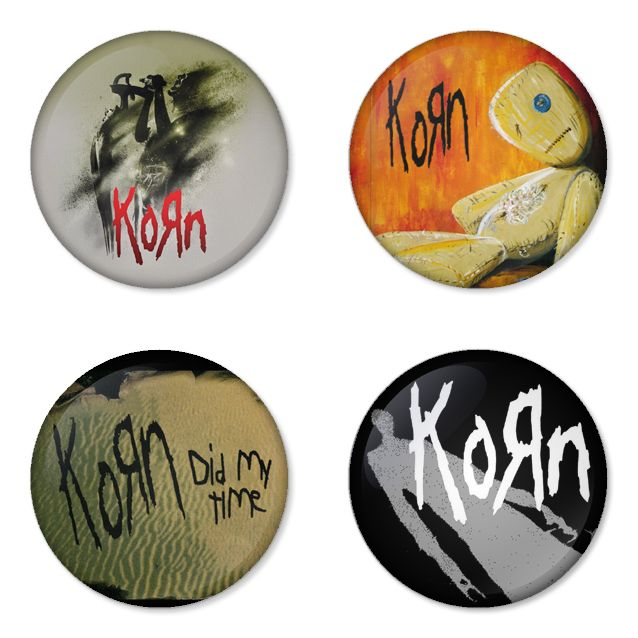 "KORN 1.75"" Badges Pinbacks, Mirror, Magnet, Bottle Opener Keychain http://www.amazon.com/gp/product/B00D6MYU5U"