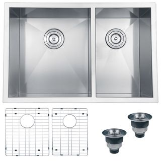 29''x19'' Ruvati Stainless Steel Double Bowl Kitchen Sink with Rinse Grids and Basket Strainers | Overstock.com Shopping - The Best Deals on Kitchen Sinks