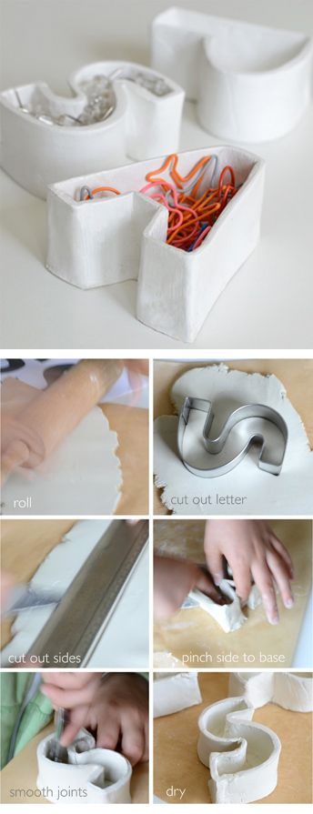 DIY alphabet containers (made using air-dry clay): http://www.willowday.com/2012/06/diy-alphabet-containers.html