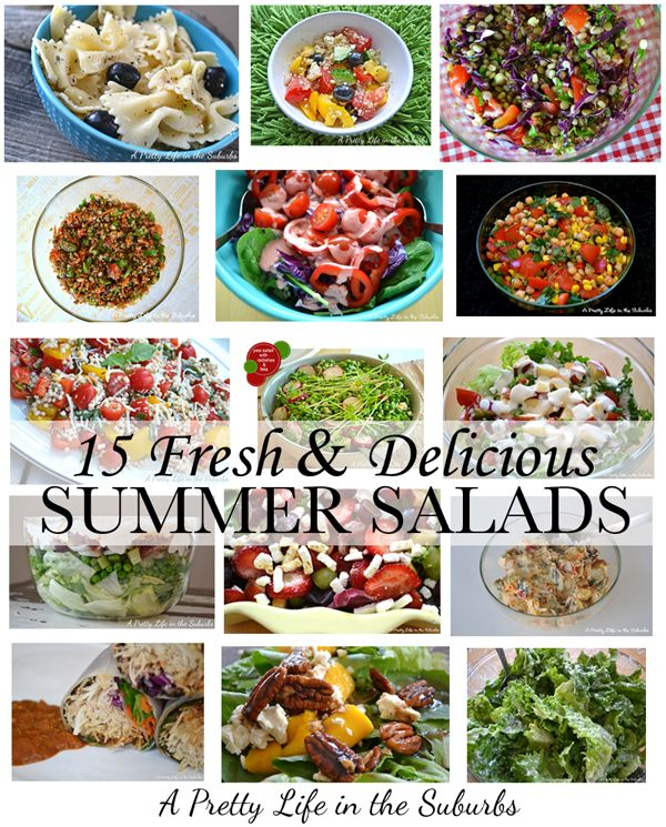 15 Fresh & Delicious Summer Salads: 15 Summer, Pretty Life, Delicious Summer, Recipes Salads Appetizers, Pasta Salads, Food Salads, Summer Salads, Blog Ideas