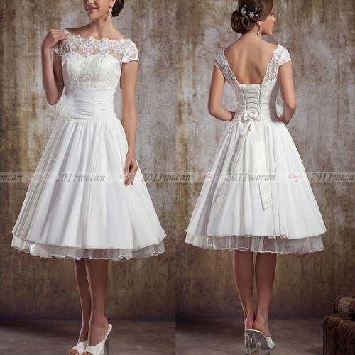 "White/Ivory Short Sleeve Vintage Lace Short Wedding Dresses UK 6 8 10 12 14 16  Surely this is a ""short"" dress you could get behind???"