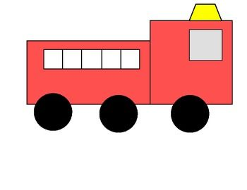 This packet includes a template for a fire truck composed of simple shapes that students can color, cut, and glue onto a piece of larger paper. There is also a simple sentence that students can complete with a descriptive word for a fire truck (loud, red, big, etc.), cut the individual words out, and glue in the correct order.