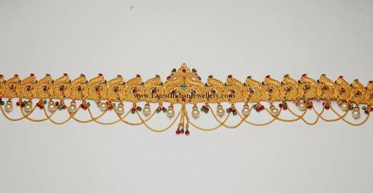 Peacock Design Chain Type Gold Vaddanam