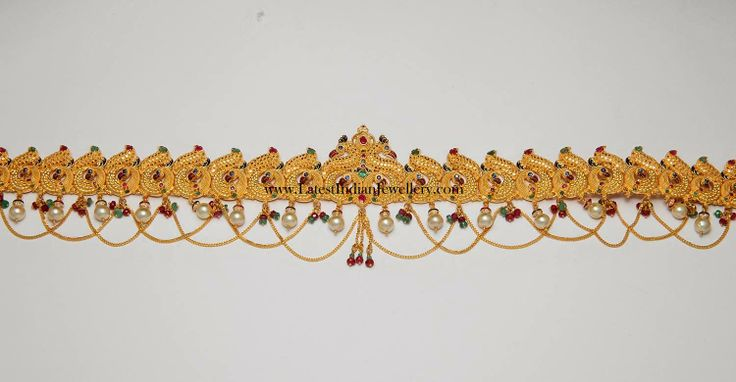 Peacock Design Chain Type Gold Vaddanam