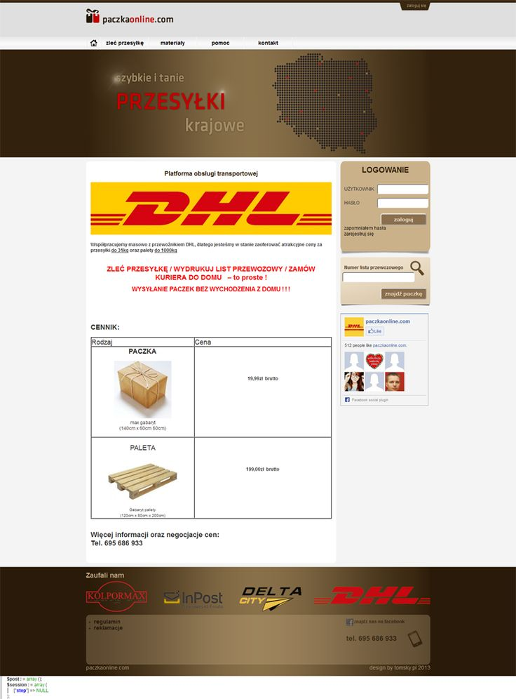 webdesign: It is a website for couriers, which enable you to send your package really fast and really cheap.