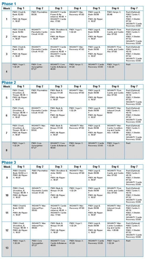 Insanity + P90X merged schedule #fitness-motivation-inspiration-eating-workouts