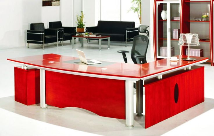Modern Red Computer Desk Design With Black Chair And Unique White Table Lamp And Large Size Red