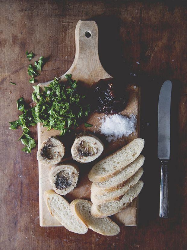 roasted bone marrow with chimichurri salad and onion jam