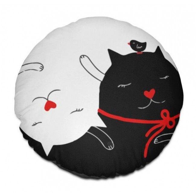 Almofada redonda gatos branco no preto