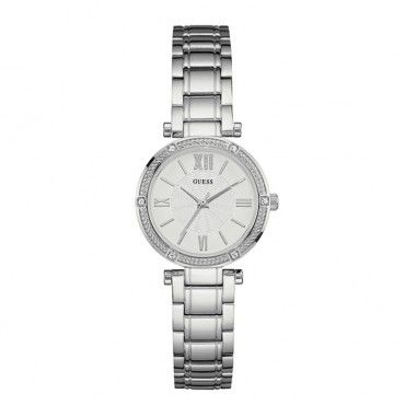 W0767L1 Γυναικείο κομψό ρολόι GUESS με ασημί καντράν, πέτρες στη στεφάνη και μπρασελέ | Γυναικεία ρολόγια GUESS Τσαλδάρης στο Χαλάνδρι #Guess #ασημι #μπρασελε #γυναικειο #ρολοι