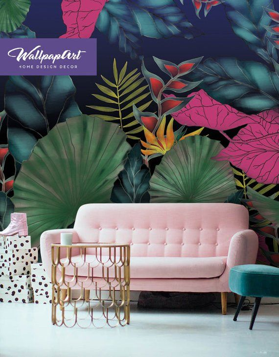 Removable Wallpaper Funky Jungle Self Adhesive Wall Mural Etsy Funky Wallpaper Jungle Wallpaper Removable Wallpaper