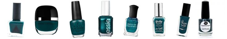 The Teals: Glade Green // Marc by Marc Jacobs 166 // OPI Amazon Amaz… off // Essie Trophy wife // Deborah lippmann Just Dance // Barry M Watermelon // Peggy Sage Trendy Blue // Lilypad Lacquer To dance with a peacock //