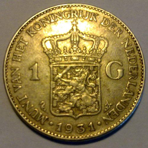 1931  zilver 1 gulden Nederlands