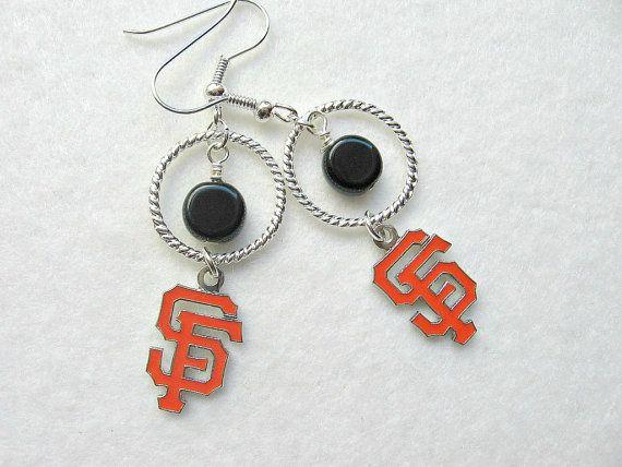 World Series Game One = SF Giants:  MLB SF Giants Hoop Dangle Earrings by SportsJewelryStudio on Etsy.  $14.50