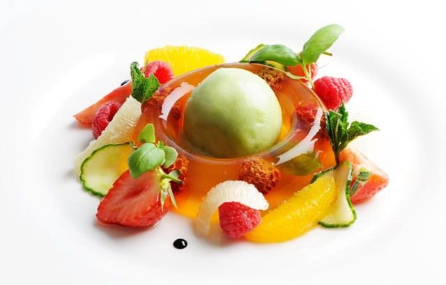 Pimm's is quintessential to any British summer. In this Pimm's jelly recipe, Josh Eggleton uses the alcoholic drink to make a jelly, served with cucumber sorbet