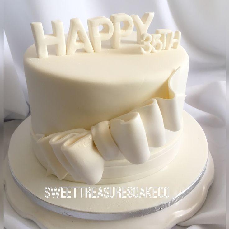 Said #happybirthday #thozama with this #allwhite #chocolate with #barone #ganache #birthday #cake. #35 #sweettreasures #sweettreasurescakeco #johannesburg #joburg #southafrica #bow #ribbon