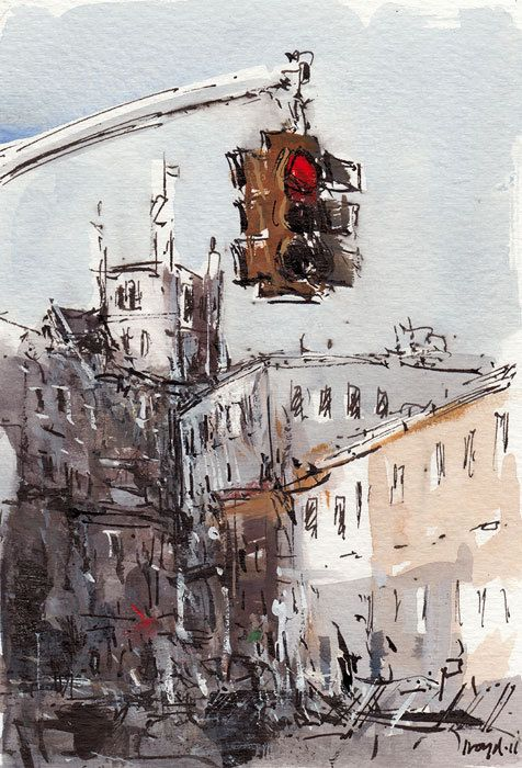 Original New York City Painting Sketch Ink Urban Watercolor 5x7 Line and Wash - Stop by David Lloyd