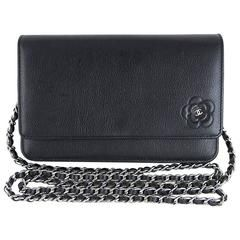 Chanel Black Camellia Woc Wallet On Chain 3way Crossbody Sling Purse