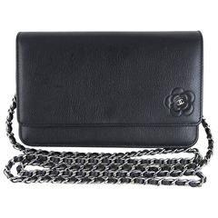 Chanel Black Camellia Woc Wallet On Chain 3way Crossbody Sling Purse