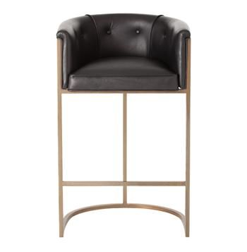 Calvin Top Grain Black Leather and Brushed Brass Art Deco Bar Stool