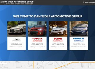 Dan Wolf Auto is a nice auto website design example that shows a few brands, services, and good content with a clean design.