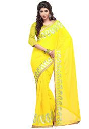 Yellow coloured embellished saree for women by Inddus. Made from chiffon, this saree measures 5.5 m in length, and comes with unstitched blouse piece of 0.8 m.