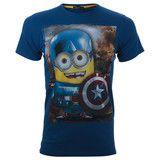 """Πατήστε και κερδίστε 5% Ανδρικό T-shirt """"Captain America"""" Μπλέ Minions #www.pinterest.com/brands4all"""