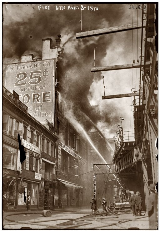 W.T. Grant department store fire at New York's Sixth Avenue and 18th Street in April 1916.