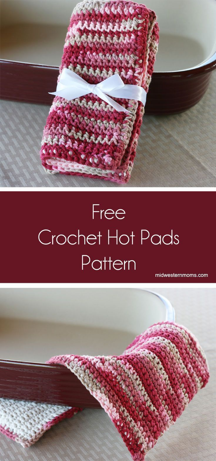 Free simple crochet hot pads pattern. Easy crochet pattern for beginners!