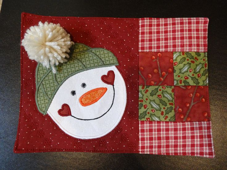 Snowman Mug Rug Pattern from The Quilter Magazine Holiday 2013 I made these November 2013