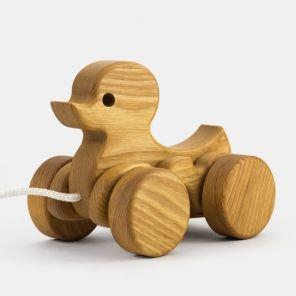Nachziehtier Ente aus Natur-Holz mit Schnur