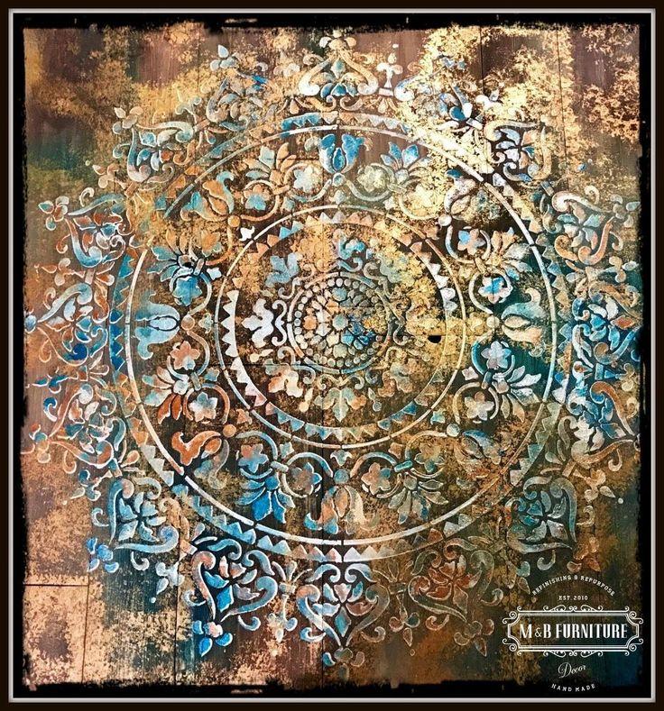Mandala-rustikale hölzerne Wandkunst-Dekor.