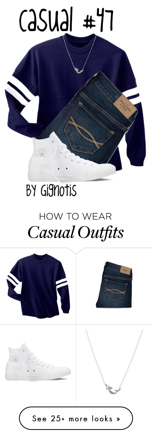 """Casual #47"" by gignotis on Polyvore featuring Abercrombie & Fitch, Converse and Betsey Johnson"