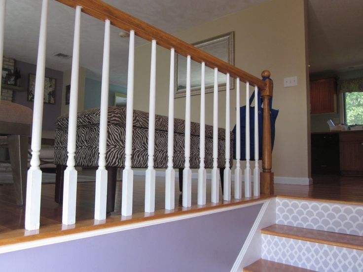 Wall Mural White Painted Stair Railing Fancy Padded Bench Picture