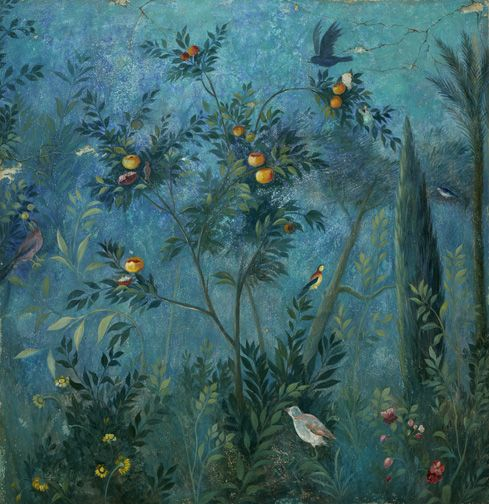 Roman civilization, 1st century b.C. Fresco depicting garden with...