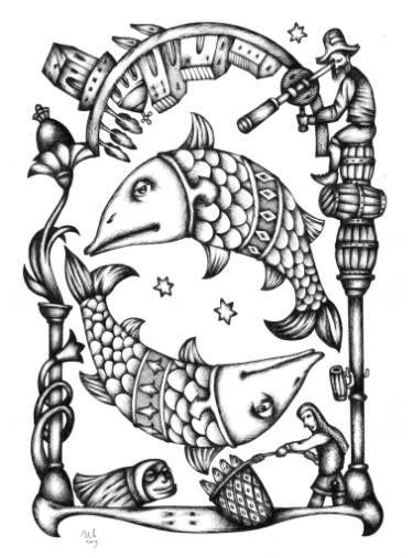 Deep Space Pisces by #eugeneivanov, 29 X 41 cm, $299.  #@eugene_1_ivanov #modern #original #ink #painting #hipster #sale #art_for_sale #original_art_for_sale #modern_art_for_sale #ink_drawing_for_sale #art_for_sale_artworks #art_for_sale_ink #art_for_sale_artist #art_for_sale_eugene_ivanov