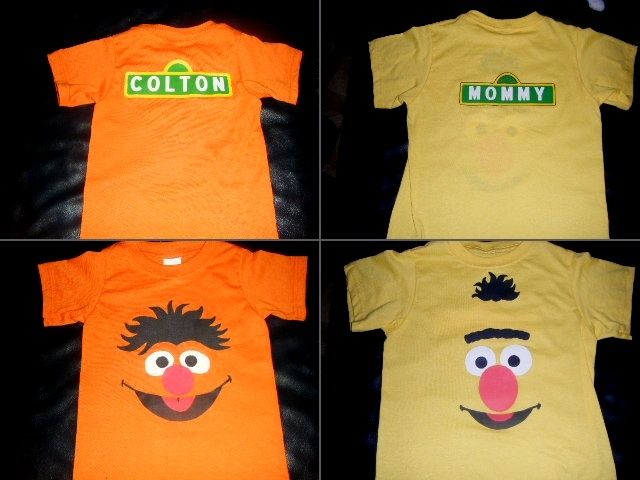 In honor of my little man's all time FAVORITE Sesame characters, I made some personalized shirts for our date to Elmo Live!