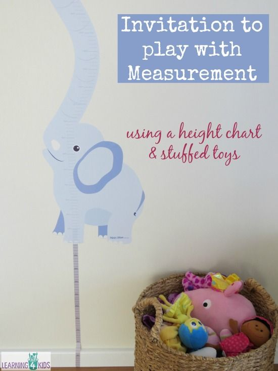invitation to play with measurement using a height chart and stuffed toys