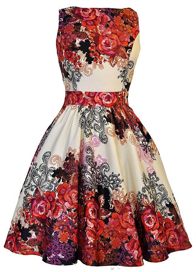 Lady Vintage // Cream Tea Red Rose Floral Dress
