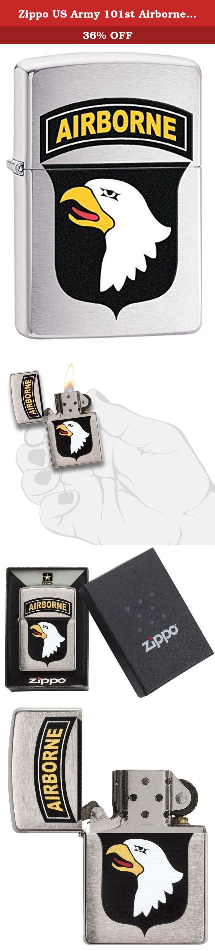 Zippo US Army 101st Airborne Brushed Chrome Pocket Lighter. This lighter features United States army 101St airborne division. This brushed chrome lighter features the insignia of the 101St airborne which is a light Infantry division of the army that is trained for air Assault operations. Comes packaged in an environmentally friendly gift box. For optimal performance, use with Zippo premium lighter fluid.