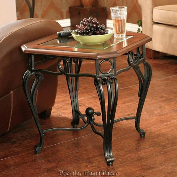 cherry wood end tables living room. Old World  Spanish Style Tuscan End Table Beveled Glass Top Scroll Black Frame Living Room 100 best Tables and end tables images on Pinterest