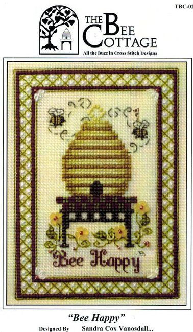 The Bee Cottage Bee Happy - Cross Stitch Pattern. Model stitched on 28 or 32 Ct. cream or ivory linen with DMC floss and Mill Hill beads. Pattern comes with 4 M