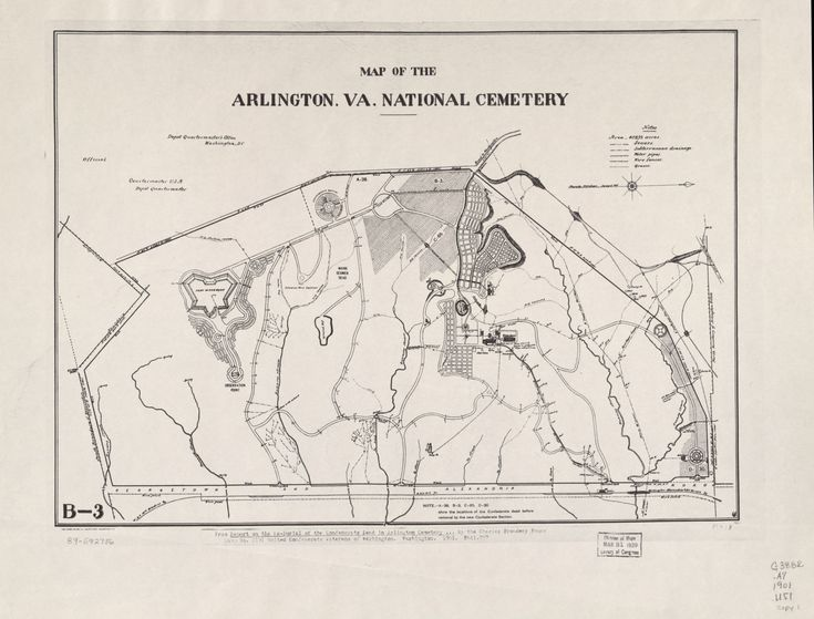 "Map of the Arlington, Va. National Cemetery / Relief shown by hachures. Above compass rose: Magnetic meridian spring of 1892. Annotated on original map: From Report on the re-burial of the Confederate dead in Arlington Cemetery ... by the Charles Broadway Rouss Camp No. 1191, United Confederate Veterans of Washington. Washington. 1901. E641.U57. ""Official."" Oriented with north to the right. ""B-3."" Available also through the Library of Congress"