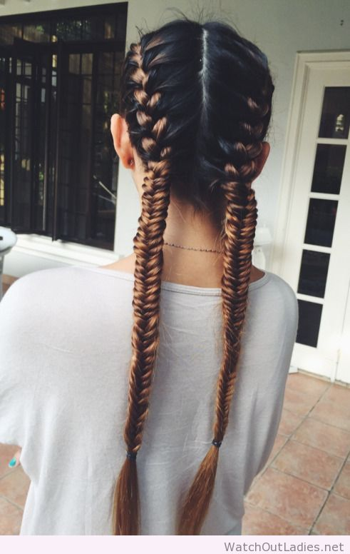 Two Fishtail Braids Hairstyles Pinterest Her Hair