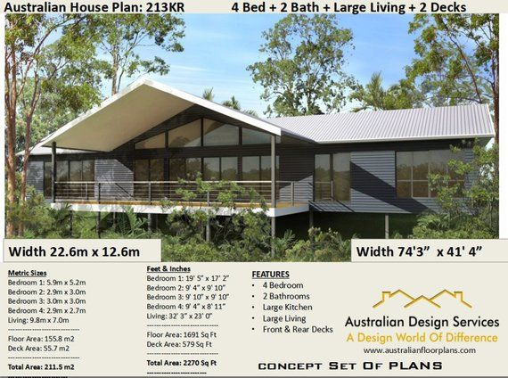 211 M2 2270 Sq Foot 4 Bed Country Kit Home Plan 4 Bed Etsy In 2021 House Plans Australia Australian House Plans Kit Homes Australia
