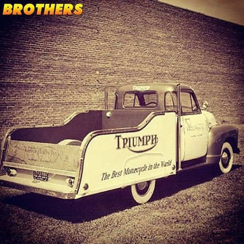 Don't know if this is a vintage pic or modern with a filter but either way it is super cool.  This 1947-54 Chevy or GMC 5-window Triumph shop truck looks awesome with the custom bed, wide whitewalls, spot lights & exhaust stacks.  #brotherstrucks #chevrolet #chevy #gmc #classic #vintage #classictruck #pickup #truck #3100 #whitewalls #restoration #automotive #triumph #triumphmotorcycles #shoptruck