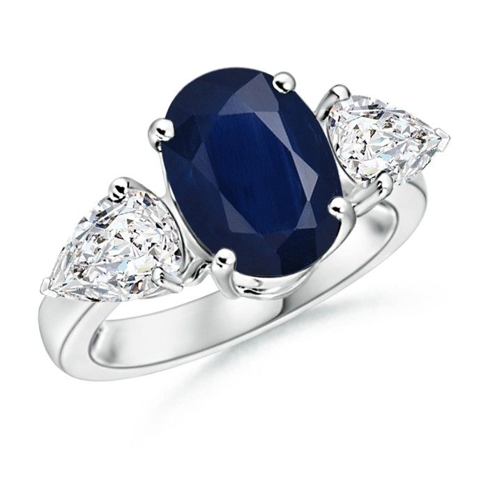 Angara Four Prong Three Stone Sapphire Ring Diamonds in Platinum Mk1xxKv